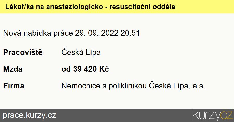 Lékař/ka na anesteziologicko - resuscitační oddělení, Lékaři vanesteziologických oborech
